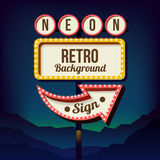 Vintage advertising road billboard with lights. Retro 3d sign. Royalty Free Stock Photography