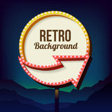 Vintage advertising road billboard with lights. Retro 3d sign. Stock Photos
