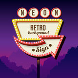 Vintage advertising road billboard with lights. Retro 3d sign. Stock Images