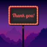 Vintage advertising road billboard with lights. Retro 3d sign. Thank you. Thank you. Vintage signboard with lights. Roadside sign. Road sign from the 50s. Retro Stock Photo