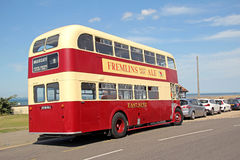 Vintage aec regent double decker bus. Photo of a vintage cream and red aec regent double decker bus parked at tankerton slopes whitstable kent Royalty Free Stock Images