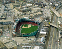 Vintage Aerial Fenway Park, Boston, MA Stock Image