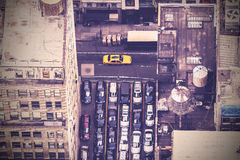 Vintage aerial picture of street in New York City, USA.  Stock Photo