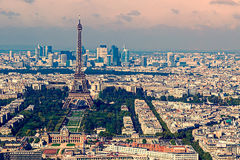 Vintage aerial view with Eiffel tower and La Defense district in Royalty Free Stock Photography