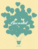Vintage aerostat. Vintage hot air balloon. Vector silhouette.Cel. Ebration festive background with balloons Stock Photo