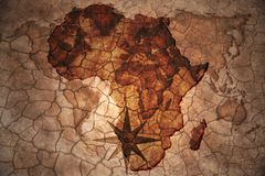 Vintage Africa map. Africa map on vintage crack paper background royalty free stock photography