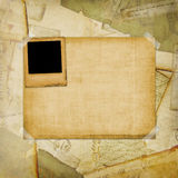 Vintage aged background, old Postcard. Envelopes and slides Stock Photo