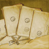 Vintage aged background, old Postcard Royalty Free Stock Photos