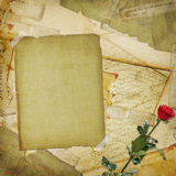 Vintage aged background, old Postcard,. Envelopes and rose Royalty Free Stock Photo