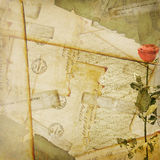 Vintage aged background, old Postcard, envelopes Royalty Free Stock Image