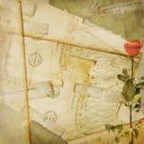 Vintage aged background, old Postcard, envelopes. And rose Royalty Free Stock Image