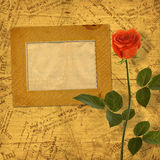 Vintage aged background, with old Postcard, envelopes, frame Stock Images
