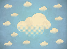Vintage aged card with clouds Stock Photos