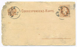 Vintage postcard - circa 1881. Vintage aged old, torn, empty postcard royalty free stock photography