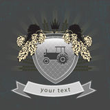 Vintage agricultural logo on the shield Stock Photography