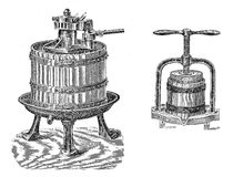 Vintage agriculture: wine and juice press Stock Photography