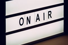 Vintage On Air live broadcast sign Royalty Free Stock Photos