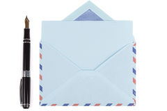 Vintage air mail envelope and fountain pen Royalty Free Stock Photography