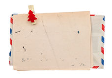 Vintage air mail envelope. retro christmas post letter Royalty Free Stock Photos