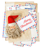 Vintage air mail envelopes. Season greetings. Merry Christmas Royalty Free Stock Image