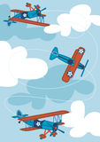 3 vintage air planes. Vector illustration of 3 vintage planes looping in the sky Stock Photography