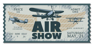 Vintage Air Show Pass Ticket. With flying airplanes in grunge style vector illustration Royalty Free Stock Photo