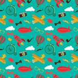 Vintage Air Vehicles Seamless Pattern Royalty Free Stock Photo
