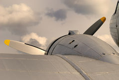Vintage aircraft. In stormy weather stock photo