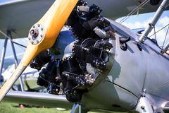 Vintage aircraft with radial engine and wooden propeller, close up of nose section Royalty Free Stock Photos