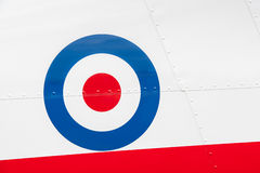 Vintage aircraft roundel. Riveted fuselage panel on vintage british military aircraft Royalty Free Stock Photo