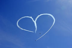 Vintage Aircraft Sky Writing Romantic Heart Shape Stock Photo