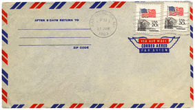 Vintage airmail envelope. From USA Royalty Free Stock Image