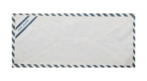Vintage airmail envelope, clipping path. Stock Photo