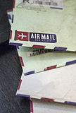 Vintage airmail envelope close up Royalty Free Stock Photos