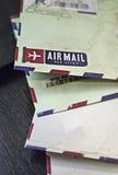 Vintage airmail envelope close up Royalty Free Stock Photos