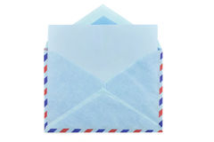 Vintage airmail envelope. With a letter inside over white Stock Photos