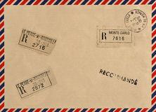 Vintage airmail envelope with stamps Royalty Free Stock Images