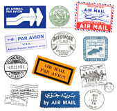 Vintage airmail labels and stamps Royalty Free Stock Images