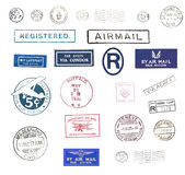 Vintage airmail stamps. Vintage postage stamps and airmail labels from all over the world Royalty Free Stock Photo