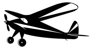 Vintage airplane. In black and white toner, vector mode Stock Photos