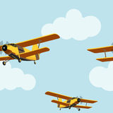 Vintage airplane in the cloudy sky seamless pattern.  vector illustration