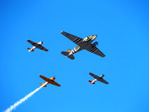 Vintage Airplane Flyby. A flyby of vintage World War Two airplanes at the start of the Firestone 600 Indy Car race at Texas Motor Speedway on June 7, 2014 Royalty Free Stock Photos