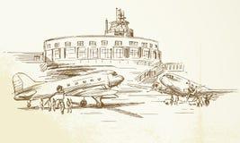 Airplane. Vintage airplane - hand drawn illustration vector illustration
