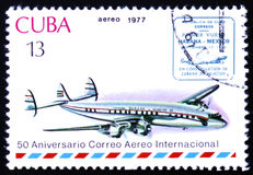 Vintage airplane and Havana-Mexico cachet Royalty Free Stock Images