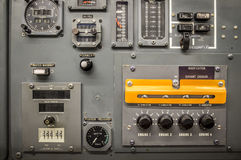 Vintage airplane panel controls Stock Images