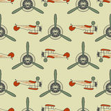 Vintage airplane pattern. With Old Biplanes, propeller elements and symbols  Stock Image