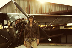 Vintage airplane pilot Royalty Free Stock Images