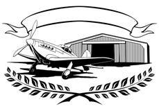 Vintage airplane propeller, aeroclub standing on Stock Photography