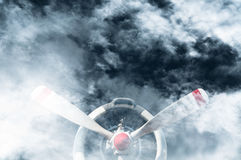 A Vintage airplane propeller with radial engine on Cloud overcast weather Stock Image