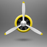 Vintage airplane propeller with radial engine vector illustration